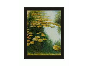 Monet Paintings: Water Lilies (Yellow and Green) with Black Satin Frame - Eco Friendly - Hand Painted Framed Canvas Art