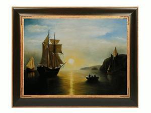A Sunset Calm in the Bay of Fundy with Opulent Frame - Dark Stained Wood And Gold Finish - Hand Painted Framed Canvas Art