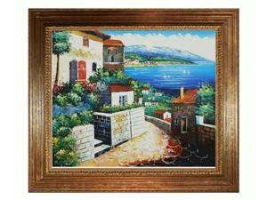 Mediterranean Scenes: Private Harbor with Vienna Wood Frame - Gold Leaf Finish - Hand Painted Framed Canvas Art