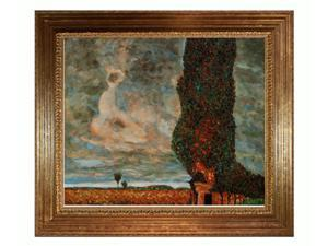 Klimt Paintings: High Poplar with Vienna Wood Frame - Gold Leaf Finish - Hand Painted Framed Canvas Art