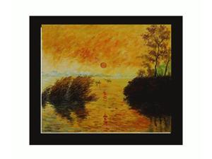 Monet Paintings: Le Coucher Du Soleil La Seine with New Age Wood Frame - Black Finish - Hand Painted Framed Canvas Art