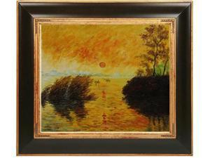 Monet Paintings: Le Coucher Du Soleil La Seine with Opulent Frame - Dark Stained Wood with Gold Trim - Hand Painted Framed ...