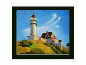 Lighthouse at Two Lights with New Age Wood Frame - Black Finish - Hand Painted Framed Canvas Art