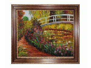 Monet Paintings: The Japanese Bridge with Vienna Wood Frame - Red and Gold Leaf Finish - Hand Painted Framed Canvas Art