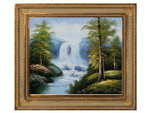 Landscapes: Bluebird Trail with Regal Champagne Frame - Dark Champagne Finish - Hand Painted Framed Canvas Art