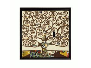 Klimt Paintings: Tree of Life with La Scala Frame - Black and Gold Finish - Hand Painted Framed Canvas Art
