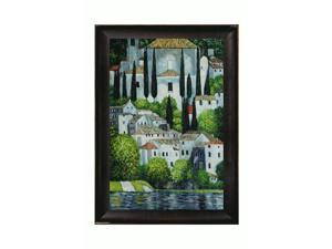 Klimt Paintings: Church in Cassone (Landscape with Cypress) Oil Painting with Veine D' Or Bronze Scoop - Bronze and Dark ...