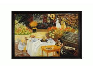 Monet Paintings: The Luncheon with La Scala Frame - Black and Gold Finish - Hand Painted Framed Canvas Art