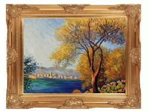Monet Paintings: Antibes, View of Salis with Victorian Gold Frame - Gold Finish - Hand Painted Framed Canvas Art