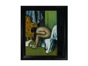After the Bath with Black Satin King Frame - Eco Friendly - Hand Painted Framed Canvas Art