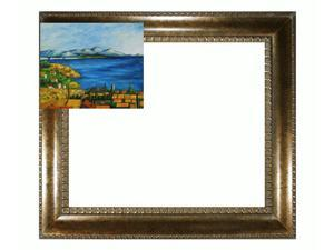 Cezanne Paintings: The Bay of Marseilles with El Dorado Gold Frame - Patterned Dark Gold Finish - Hand Painted Framed Canvas ...