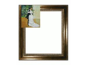 Renoir Paintings: Dance in The City with El Dorado Gold Frame - Patterned Dark Gold Finish - Hand Painted Framed Canvas Art