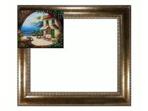 Mediterranean Scenes: Cafe At Oceanside with El Dorado Gold Frame - Patterned Dark Gold Finish - Hand Painted Framed Canvas ...