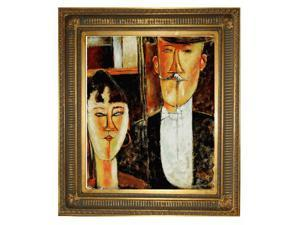 Modigliani Paintings: Bride and Groom with Regal Gold Frame - Gold Finish - Hand Painted Framed Canvas Art