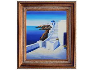 Mediterranean Scenes: Start the Journey with Mediterranean Bronze Frame - Bronze Finish - Hand Painted Framed Canvas Art