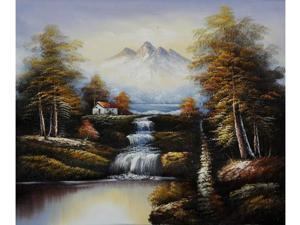 Landscapes: North View of Mountains - Hand Painted Canvas Art