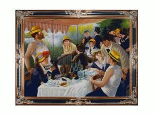 Luncheon of the Boating Party with Excalibur Gold and Glossy Black Frame - Hand Painted Framed Canvas Art