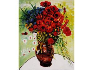 Vase with Daisies and Poppies - Hand Painted Canvas Art