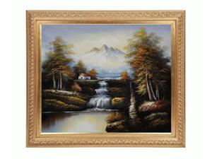 Landscapes: North View of Mountains with Elegant Wood Frame - Gold Finish - Hand Painted Framed Canvas Art