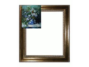 Renoir Paintings: Grande Vase Di Fiori with El Dorado Gold Frame - Patterned Dark Gold Finish - Hand Painted Framed Canvas ...