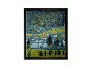 Klimt Paintings: Pendio Montano a Unterach with La Scala Frame - Black and Gold Finish - Hand Painted Framed Canvas Art