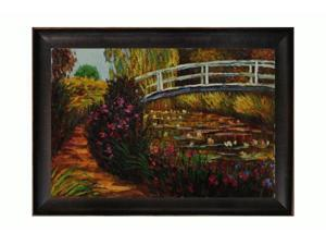 Monet Paintings: The Japanese Bridge with Veine D' Or Bronze Scoop - Bronze and Dark Brown Finish - Hand Painted Framed Canvas ...
