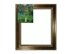 Woman Walking in an Exotic Forest with El Dorado Gold Frame - Patterned Dark Gold Finish - Hand Painted Framed Canvas Art