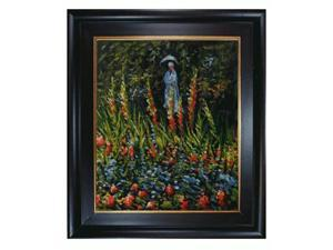 Monet Paintings: The Garden, Gladioli with Vintage Creed Frame - Distressed Rich Black Stained Wood with Gold Liner - Hand ...