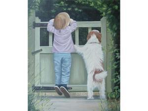 Girl and Dog - Canvas Art