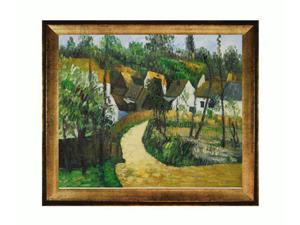 Cezanne Paintings: Turn in the Road with Athenian Gold Frame - Antique Gold Finish - Eco Friendly - Hand Painted Framed Canvas ...