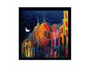 Night with New Age Wood Frame - Black Finish - Framed Canvas Art