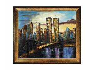 New York Bridge, 1999 with Athenian Gold Frame - Antique Gold Finish - Eco Friendly - Hand Painted Framed Canvas Art
