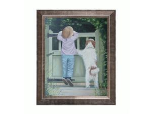 Girl and Dog with Veine D 'Or Pewter Angled - Pewter Reverse Angled Frame - Framed Canvas Fine Art