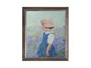 Bluebell Girl with Veine D 'Or Pewter Angled - Pewter Reverse Angled Frame - Hand Painted Framed Canvas Art
