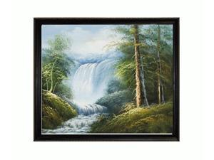 Landscapes: Point of Relaxation with La Scala Frame - Black and Gold Finish - Hand Painted Framed Canvas Art