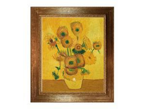 Van Gogh Paintings: Vase with Fifteen Sunflowers (affordable line) with Vienna Wood Frame - Gold Leaf Finish - Hand Painted ...