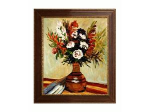 Renoir Paintings: Rose in a Vase with Vienna Wood Frame - Red and Gold Leaf Finish - Hand Painted Framed Canvas Art
