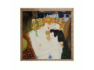 Klimt Paintings: Le tre eta della donna (Mother and Child) with Golden Oak Leaf Frame - Distressed Gold Finish with an Oak ...