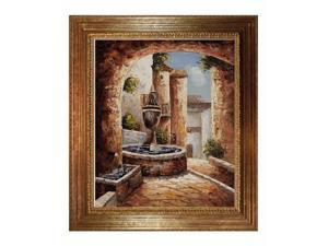 Greek Villa I with Vienna Wood Frame - Gold Leaf Finish - Hand Painted Framed Canvas Art