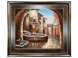 Greek Villa II with Natural Creed Frame - Deep Natural Stained Wood - Hand Painted Framed Canvas Art