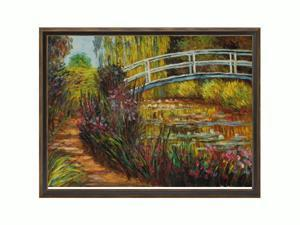Monet Paintings: The Japanese Bridge with Cottage Oak Frame - Diamond Patterned with Bronze and Dark Stain Finish - Hand ...