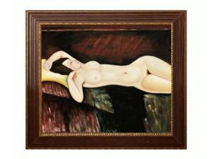 Modigliani Paintings: Grande Nudo with Vienna Wood Frame - Red and Gold Leaf Finish - Hand Painted Framed Canvas Art