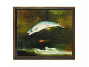 Jumping Trout with Cottage Oak Frame - Diamond Patterned with Bronze and Dark Stain Finish - Hand Painted Framed Canvas Art
