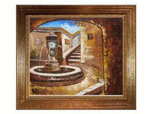 Private Courtyard with Vienna Wood Frame - Gold Leaf Finish - Hand Painted Framed Canvas Art