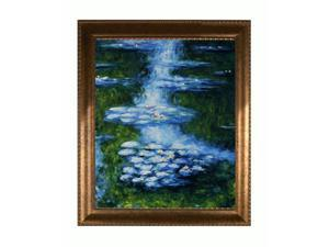 Monet Paintings: Water Lilies (blue-green) with El Dorado Gold Frame - Patterned Dark Gold Finish - Hand Painted Framed Canvas ...