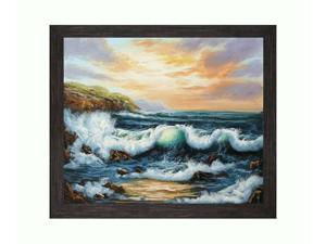 "Art Reproduction Oil Painting - Seascapes: To The West with Grazed Ebony - Distressed Black Finish - 24"" X 28"" - Hand Painted ..."