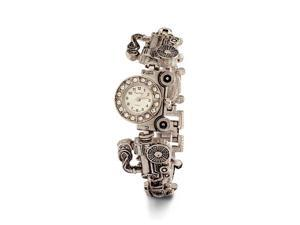 Silver Tone Ladies Train Locomotive CZ Fashion Watch