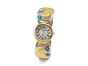 Gold Silver Tone Green Beads Ladies Bracelet Wristwatch