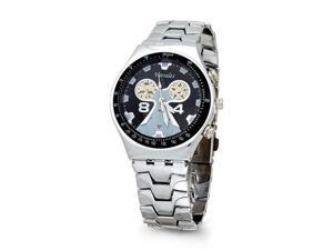 Mens Black Silver Tone Quartz Fashion Bracelet Watch