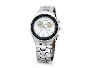 Mens White Silver Tone Quartz Fashion Bracelet Watch